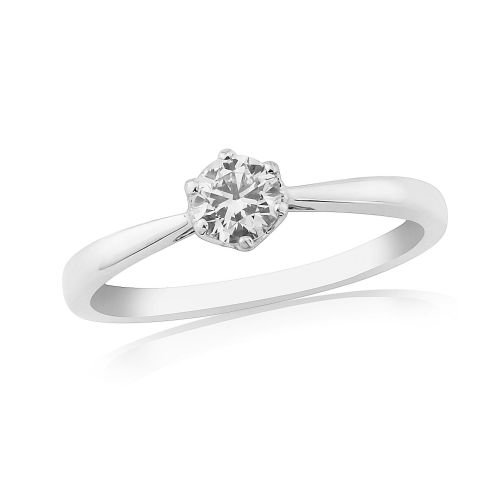 Solitaire Single Stone Six Claw Engagement Ring White Gold 33 Points